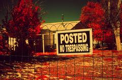 irf (HOOVER14) Tags: no trespassing sign mills wyoming minolta s r t 101 srt film camera infrared infra red color slide