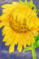 Sunflower (BKHagar *Kim*) Tags: bkhagar art artwork painting paint acrylic sunflower flower yellow bowed bloom