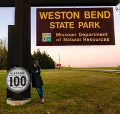 I lean into nature. Weston Bend State Park. (LauraGilchrist4) Tags: westonbendstatepark leaning missouri kansascity kc nature conservationarea sign missouridepartmentofnaturalresources modnr outdoors lean 100 missouristateparks redbarn