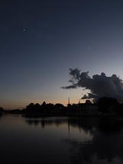 092517fsj-06a (djfnola) Tags: davidfischer olympus em10 fsj faubourgstjohn neworleans la louisiana clouds moon jet lateday crescent bayoustjohn passenger sunset dusk reflection