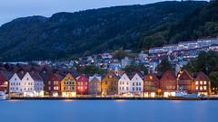 Bryggen (HansPermana) Tags: norway norwegen bergen city cityscape hafen wharf bluehour longexposure buildings cloudy autumn lights reflection water
