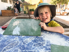 20170925_Shannon_phone_0038.jpg (Ryan and Shannon Gutenkunst) Tags: hat stmarkspreschoolandkindergarten chalkboard smile chalk batmanshirtwithcape codygutenkunst