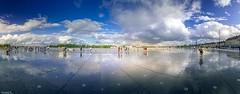 Quand le ciel touche la terre (YᗩSᗰIᘉᗴ HᗴᘉS +8 500 000 thx❀) Tags: bordeaux sky clouds panorama nuages ciel aquitaine gironde placedelabourse france miroirdeau miroir mirror blue bluesky hensyasmine landscape paysage
