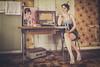 Ma Lou - Serie Vintage-Retro (www.michelconrad.fr) Tags: canon eos6d eos 6d ef24105mmf4lisusm 24105mm 24105 femme modele blanc portrait studio vintage journal ancien tapisserie coiffure retro alsace radio cuisine vintageretro