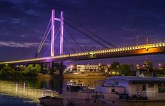 New-Railway-Bridge-By-Night-Sava-River-Belgrade (Predrag Mladenovic) Tags: belgrade sava river ada bridge newrailway gazela sunset twilight reflections citylights