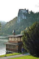 Castle by the lake - Bled, Slovenia (stevelamb007) Tags: slovenia bled lakebledslovenia castlebled lake fog stevelamb nikon d70s nikkor 50mmf18