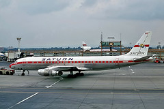 N8008F   Douglas DC-8-54 [45669] (Saturn Airways) Gatwick~G 29/08/1973 (raybarber2) Tags: 45669 airliner airportdata alpechacollection approachtodo cn45669 cancelled eggk flickr n8008f slide usacivil