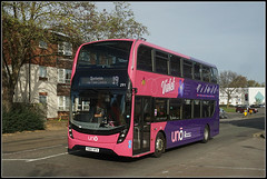 UNO 291, St.James Mill Road (Jason 87030) Tags: uno uon uni everyone bee flower violet yx67vfv 291 mmc doubledecker stjamesmillroad northampton northants northamptonshire edgarmobbsway sixfields parkandride 19 2017 sony alpha a6000 ilce nex lens pink color colour purple buzz sting insect lewishamilton scene bus |publictransport october
