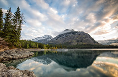 New day on the lake (Canon Queen Rocks (1,834,000 + views)) Tags: landscape lake landscapes lakes lakeminnewanka trees reflections rocks water mountains mothernature momentsbycelinecom mountain morning clouds colours nature nationalpark banff banffnationalpark calm canada alberta autumn