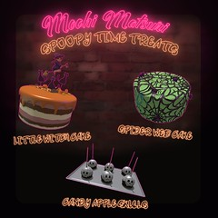 cakes (Mochi Matsuri) Tags: secondlife spoopy halloween sl decorations spooky food sweets cake cookies shakes