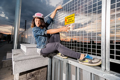 Street Experiments (Petar Milev) Tags: street dance break hiphop art high voltage bridge freestyle fence cloudy sky sunset sunrise orange deep blue red railway train sofia bulgaria jeans snickers hat stright nike flash ligth experiment