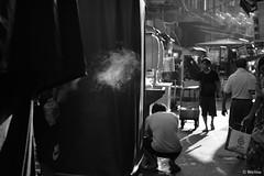 Scent of a market (Weilou') Tags: monochrome street smoke vendor market