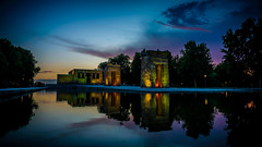 Hora bruja en el Templo de Debod (pepoexpress - A few million thanks!) Tags: nikon nikkor d610 d61024120mmf4 nikond610 nikond6101424mmf28 24120mmafs pepoexpress night nightphotography citynight debod templodedebod templodedebodmadridspain skylinearchitecture sky skyline water reflections reflejos clouds madrid puestadesol sunset sunrise horadorada goldenhour