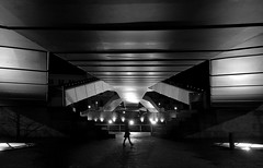 (cherco) Tags: night noche woman bridge bilbao light silueta silhouette solitario solitary shadow sombra street stairs urban composition composicion cc canon city ciudad lonely luz simetria under alone walk blackandwhite blancoynegro r arquitectura architecture