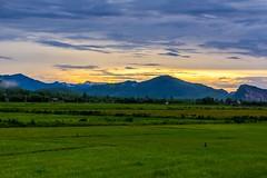 Krajina severu středního Vietnamu (zcesty) Tags: západslunce vietnam13 soumrak pole krajina hory vietnam dosvěta quảngbình vn
