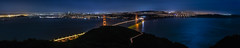 slackers hill panorama (pbo31) Tags: bayarea california nikon d810 color night black dark september fall boury pbo31 sanfrancisco city over view panoramic large stitched panorama goldengatebridge 101 bridge orange goldengatenationalrecreationarea marincounty northbay lightstream traffic motion roadway skyline silhouette salesforce