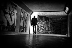 monster from the shadows (Daz Smith) Tags: dazsmith fujixt20 fuji xt20 andwhite city streetphotography people candid citylife thecity urban streets uk monochrome blancoynegro blackandwhite mono graffiti monster alien silhouette man shadows bristol bearpit