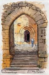 St Amand de Coly fortification et porche (Cat Gout) Tags: saintamanddecoly sketch abbaye aquarelles dordogne périgord eu église village