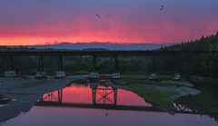 Red Fire (Danny VB) Tags: red sunset storm reflection reflet summer granderiviere gaspesie quebec canada canon m10 mirrorless dannyboy photo photography coucher soleil sun set bridge pont