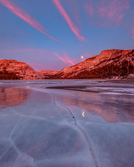 Sunset on Frozen Tenaya Lake (Jeffrey Sullivan) Tags: yosemite national park nationalpark tenaya lake highsierra landscape travel photography california usa nature canon eos photo copyright january 2012 jeff sullivan sierranevada unitedstates united states frozen ice winter 5dmarkii tiogapassroad