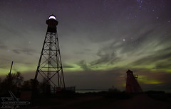 Gull Harbour Lighthouses (Winglet Photography) Tags: wingletphotography northernlights auroraborealis georgewidener stockphoto solarstorm aurora geomagnetic earth sun canon 7d storm solar georgerwidener night nighttime longexposure dark inspiration lights colors sky lighthouse hecla manitoba island gullharbor old canada heclaisland 1898