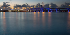 Rhapsody in Blue (Tazmanic) Tags: portofmiami miami florida biscaynebay portbridge bridge waterseascape
