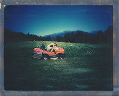 8x10 Death by Chores (sycamoretrees) Tags: 8x10 8x10pinhole analog chores color8x10 color8x10201510 dead death film girl impossible instantfilm integralfilm largeformat lawnmower marianrainerharbach polaroid sky woman