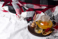 tray with honey and a cup of hot tea in the bed, (lyule4ik) Tags: tea winter bed warm cozy mood breakfast life morning cup details lifestyle cold comfortable home nobody soft still sweater top tray wooden hotel food relax comfort comfy rustic blanket weekend bedding bedroom decor decoration homely lazy linen loft meal modern mug organic round scandinavian serve waking white hot room autumn