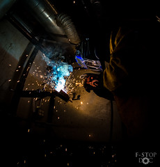 IMG_0147 (F Stop Doc) Tags: stick welder mig welding gmaw smaw heat fire hood mask helmet sparks light bright blue trade work america