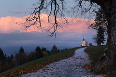 Beautiful sunset at Jamnik (damjanjanša5) Tags: nature church slovenia slovenija landscape travel sunset sun kranj nikon d7200 forest