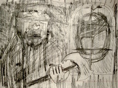man with an ax (giveawayboy) Tags: pencil crayon sketch drawing art fch tampa artist giveawayboy billrogers man ax window mouth