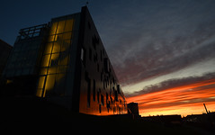 Red Sky in the Morning....... (Anthony Mark Images) Tags: morning earlymorning sunrise pretty sky prettysky beautiful lovely highereducation perimeterinstitute theoreticalphysics stevenhawkings clouds redsky waterloo ontario canada streaks stairwell architecture reflections
