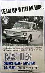 1965 ADVERT - CASTLES OF LEICESTER ROOTES DEALER - HILLMAN IMP (Midlands Vehicle Photographer.) Tags: 1965 advert castles of leicester rootes dealer hillman imp