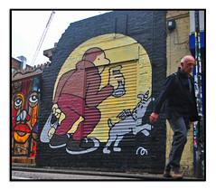 STREET ART by MURETZ (StockCarPete) Tags: streetart tintin snowy tintinsnowy freehandspray spraycan graffiti herge dog londonart publicart spraycanart londonstreetart london uk bricklane hanburystreet wallart