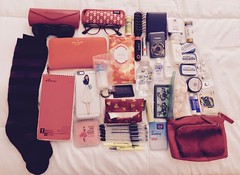 what's in my bag?   10 - 26 - 17 (adderall1977) Tags: color bed bedroom whatsinmybag iphone camera notebook pens wallet glasses sunglasses longsocks bagnet