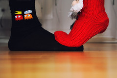"""Day 296/365 - """"4 Feet"""" (Little_squirrel) Tags: 365the2017edition 3652017 day296365 23oct17 fourfeet socks love athome cozy together togetherforever colors colorful couple youandme climbe contrast feet foot red kiss blackandred santa pacman"""