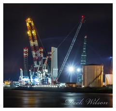 Meccano Set, maybe (Deek Wilson) Tags: halandandwolff windturbine meccano belfastharbour belfastlough queensisland crane heavylift canon7dmkii night shoot