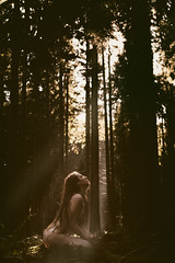 weighting the light (DirkBee) Tags: woman outdoor light mood nude forest emotional lonesome deserted