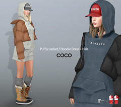 COCO_Fameshed_November (cocoro Lemon) Tags: coco newrelease fameshed hoodie dress puffer jacket mesh secondlife fashion maitreya slink
