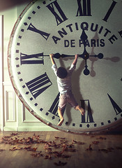 Holding on to Time (Gabriel Tomoiaga) Tags: fineartphotography conceptualphotography whimsical surreal boy clock time gabetomoiaga fantasy props photoshop storyteller art vintage antique childrenworld child children kids