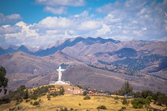 Cristo blanco (white christ) sits high above Cusco.  This is taken from the Saqsaywaman archeological site.
