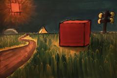 the red box (surrealism) (ooka medias - 1 Million views : TY !) Tags: paint red box green grass painted watercolor peinture pintura draw drawn dessin peint main hand path chemin camino pyramid yellow tree arbre sun soleil orange lumiere light digital aerograph art gallerie paper papier papel mano surrealism