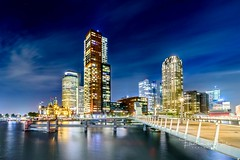 View at Rotterdam (Ellen van den Doel) Tags: nacht night workshop netherlands bridge long avond nederland cityscape ellenvandendoel evening clouds lights rotterdam cursus 2017 exposure oktober wilhelminapier building photography skyline outdoor city zuidholland nl