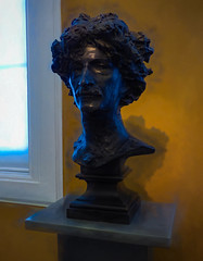 Ignacy Jan Paderewski (Steve Taylor (Photography)) Tags: ignacyjanpaderewski polish pianist headofhair primeminister bust paderewski gilbert cast bronze alfredgilbert art digital sculpture blue yellow white grey man uk gb england greatbritain unitedkingdom london male pliinth victoriaandalbert va museum