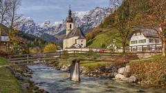 St. Sebastian, Ramsau. (joseph_donnelly) Tags: bavaria bayern autumn herbst hdr brücke bridge fluss river deutschland germany sebastian kirche church ramsau