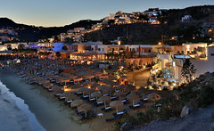 Platys Gialos Beach, Mykonos after sunset (Alona Azaria) Tags: mykonos island greece aegean cyclades cyclade night beach seascape shore long exposure