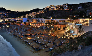 Platys Gialos Beach, Mykonos after sunset