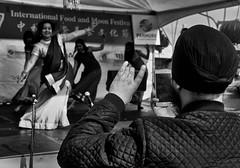 Double Live Broadcast (Rolf Siggaard) Tags: 35mm auckland blackwhite captureone daytime fujixt2 groupofpeople mirrorless monochrome mtwellington people streetlife women performance