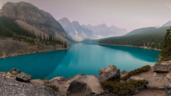 Blue Panorama (Andrew G Robertson) Tags: moraine lake banff national park alberta canada panorama sunrise dawn mist haze fog