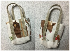 Two sides of Woodland 1:6 Tote (Foxy Belle) Tags: doll barbie sew handamde ooak miniature bag tote purse pocketbook felt fall